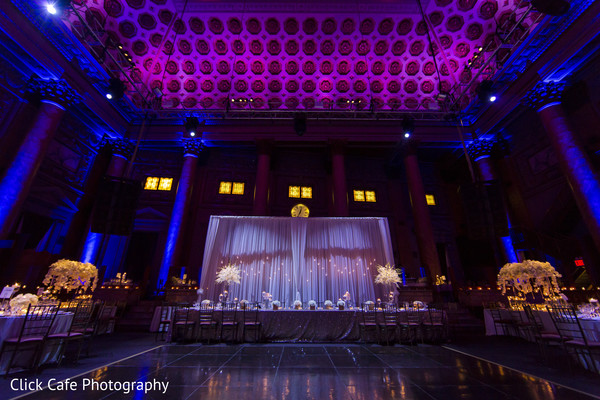 Indian wedding reception blue and pink lightning. in Jersey City, NJ Indian Wedding by Click Café Photography