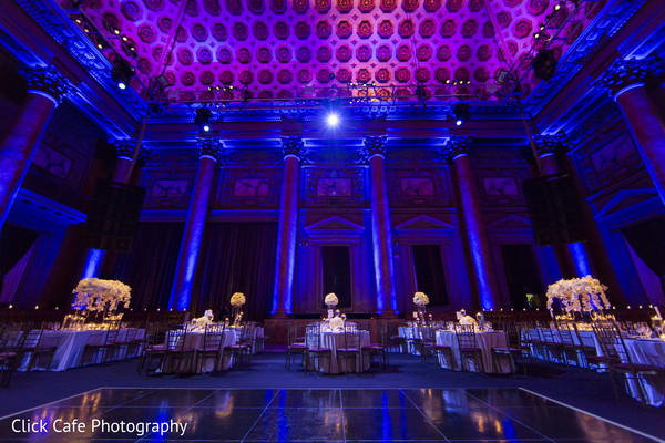 Stunning decoration and lightning of indian wedding reception. in Jersey City, NJ Indian Wedding by Click Café Photography