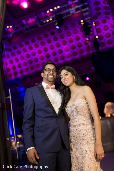 Indian couple in their wedding reception in Jersey City, NJ Indian Wedding by Click Café Photography