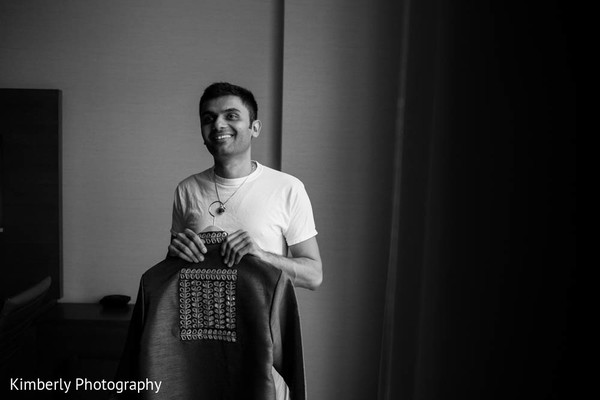 Indian groom getting ready in Tampa, FL Indian Wedding by Kimberly Photography