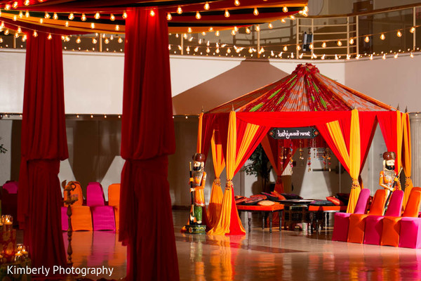 Lovely set up for garba in Tampa, FL Indian Wedding by Kimberly Photography
