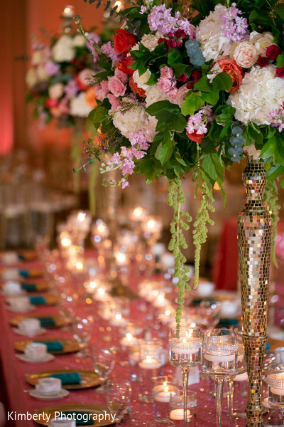 Spectacular floral and decor in indian wedding reception in Tampa, FL Indian Wedding by Kimberly Photography