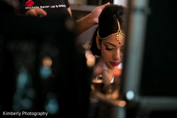 Lovely Maharani getting ready in Tampa, FL Indian Wedding by Kimberly Photography