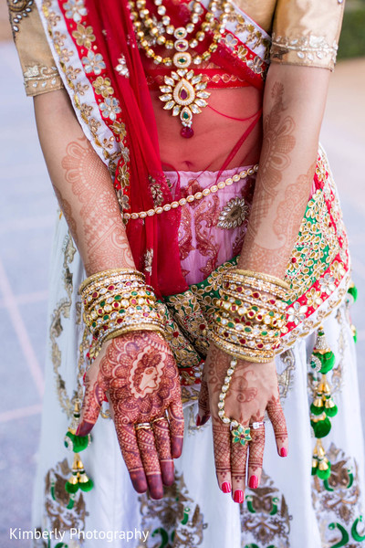 Beautiful bridal jewelry and mehndi in Tampa, FL Indian Wedding by Kimberly Photography