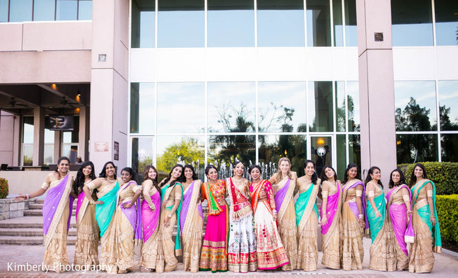 Lovely maharani with bridesmaids in Tampa, FL Indian Wedding by Kimberly Photography