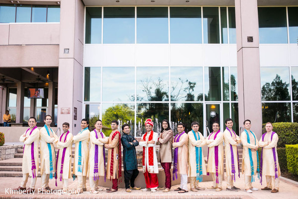 Indian groom with groomsmen in Tampa, FL Indian Wedding by Kimberly Photography