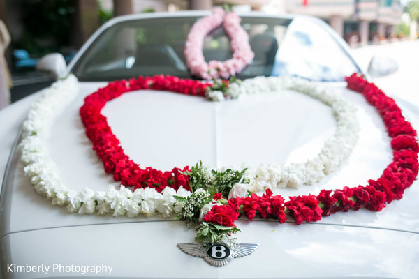 Beautiful flower arrangements for car in Tampa, FL Indian Wedding by Kimberly Photography