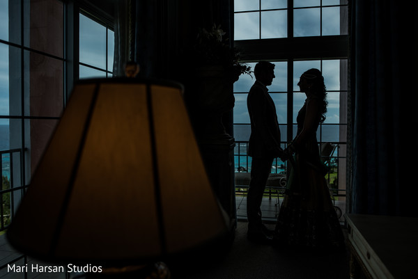 Indian bride and groom portrait. in Southhampton, Bermuda Indian Wedding by Mari Harsan Studios
