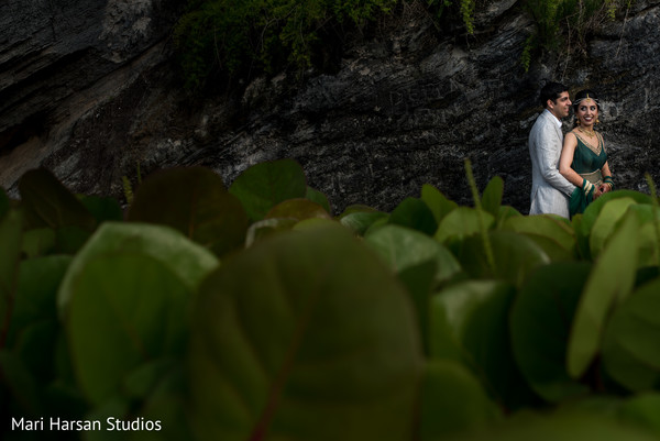 Indian bride and groom pre -wedding portrait. in Southhampton, Bermuda Indian Wedding by Mari Harsan Studios