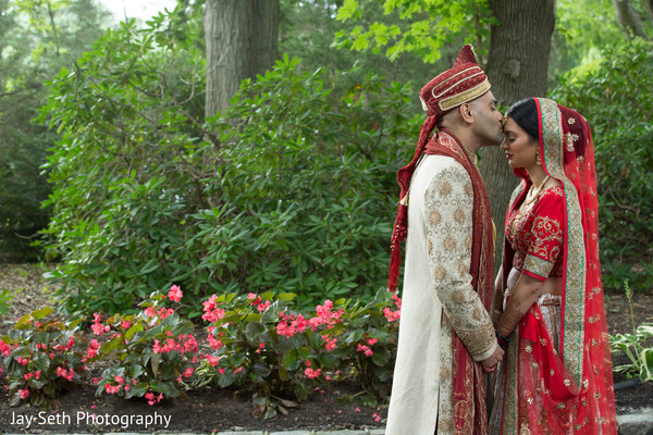 Bride and Groom Portrait Outdoors in Woodbury, NY Indian Wedding by Jay Seth Photography