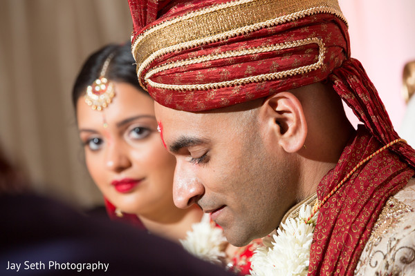 Bride and Groom Portrait in Woodbury, NY Indian Wedding by Jay Seth Photography