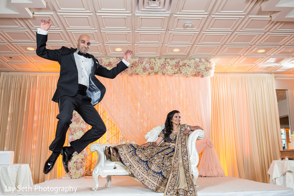 Bride and Groom Reception in Woodbury, NY Indian Wedding by Jay Seth Photography