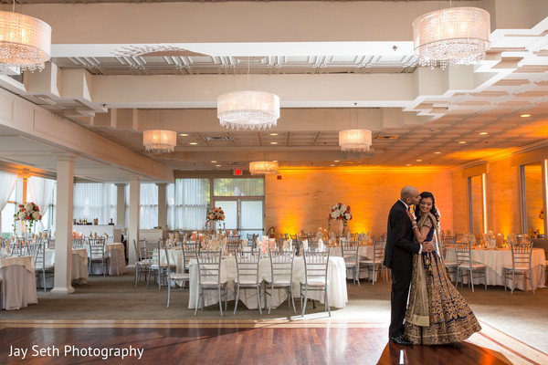 Bride and Groom Reception Portrait in Woodbury, NY Indian Wedding by Jay Seth Photography