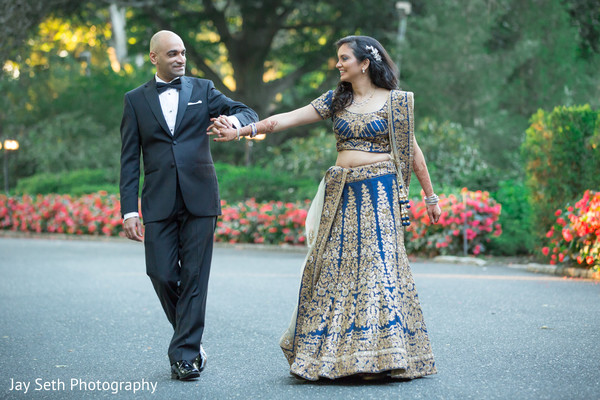 Bride and Groom Reception Outdoor Portrait in Woodbury, NY Indian Wedding by Jay Seth Photography