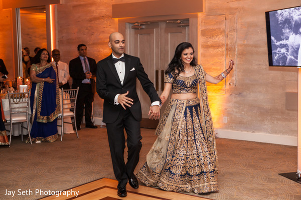 Bride and Groom Reception Party Entrance in Woodbury, NY Indian Wedding by Jay Seth Photography