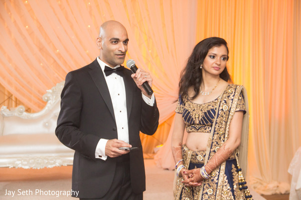 Bride and Groom Speech in Woodbury, NY Indian Wedding by Jay Seth Photography
