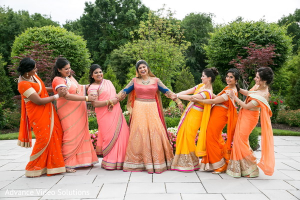 Bridesmaids fashions in Somerset, New Jersey Indian Wedding by Advance Video Solutions