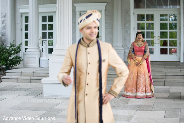 Bride and Groom Wedding Outdoor Portrait in Somerset, New Jersey Indian Wedding by Advance Video Solutions
