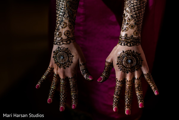 See this exquisite mehndi bridal design. in Southhampton, Bermuda Indian Wedding by Mari Harsan Studios