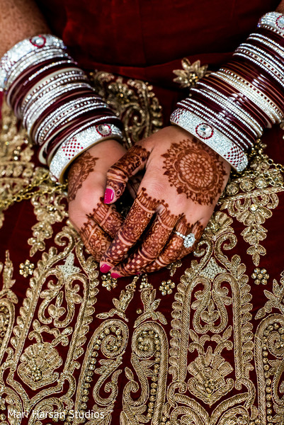 Excellent close up of bride's bangles and mehndi. in Southhampton, Bermuda Indian Wedding by Mari Harsan Studios
