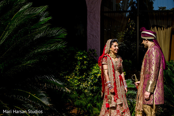 Frst look photography of indian bride and groom. in Southhampton, Bermuda Indian Wedding by Mari Harsan Studios