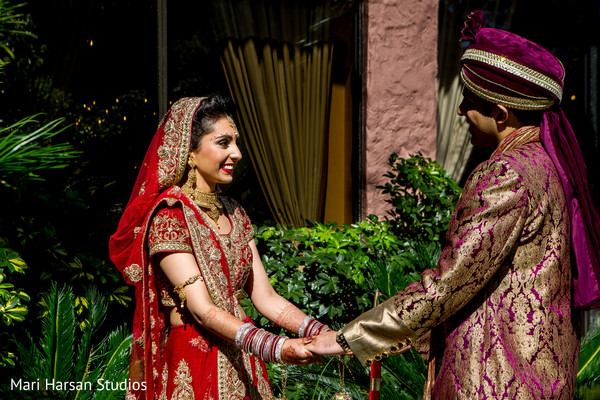 First look shoot of indian bride and groom. in Southhampton, Bermuda Indian Wedding by Mari Harsan Studios