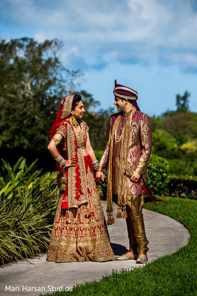 Look at these lovely indian bride and groom ready to say yes. in Southhampton, Bermuda Indian Wedding by Mari Harsan Studios