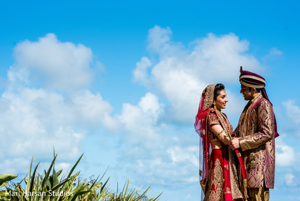 Outdoor indian bride and groom portrait. in Southhampton, Bermuda Indian Wedding by Mari Harsan Studios