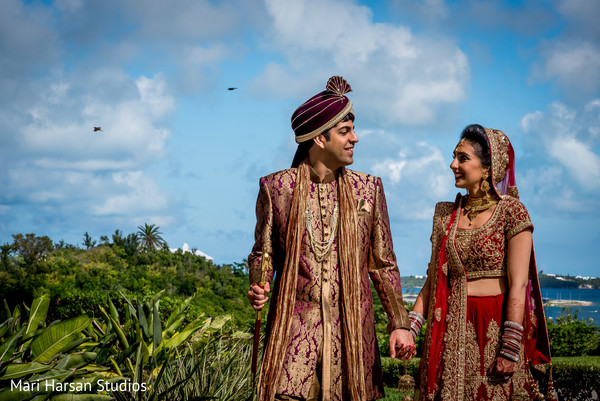 Indian bride and groom outdoor photography. in Southhampton, Bermuda Indian Wedding by Mari Harsan Studios