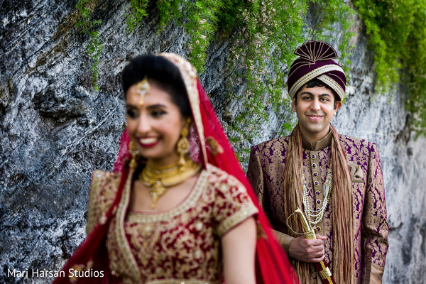 Indian groom ready to surprise his maharani. in Southhampton, Bermuda Indian Wedding by Mari Harsan Studios