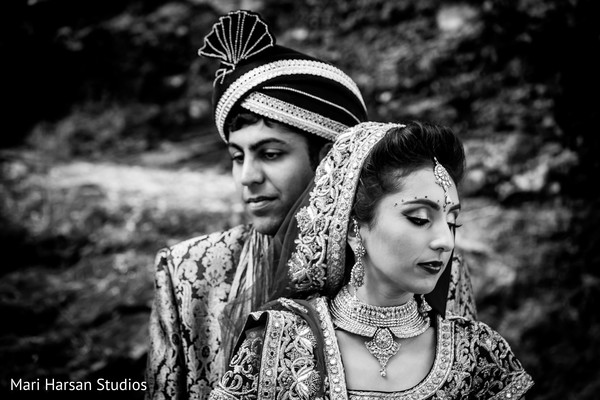 Inspiring black and white image of indian bride and groom. in Southhampton, Bermuda Indian Wedding by Mari Harsan Studios