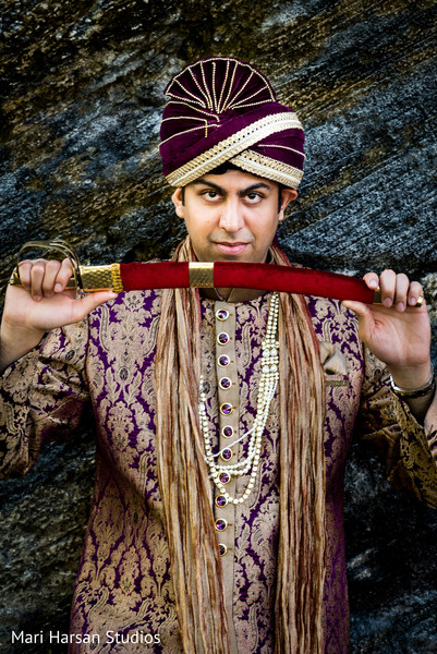 Indian groom portrait. in Southhampton, Bermuda Indian Wedding by Mari Harsan Studios