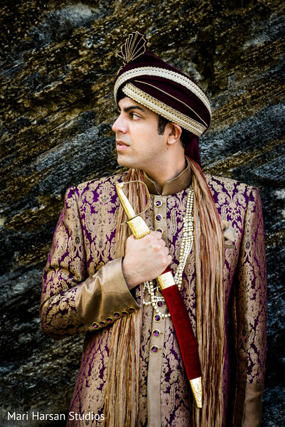 Hansome raja wearing his wedding attire. in Southhampton, Bermuda Indian Wedding by Mari Harsan Studios
