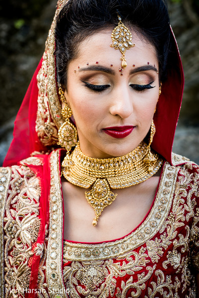 Perfect indian bride make up. in Southhampton, Bermuda Indian Wedding by Mari Harsan Studios