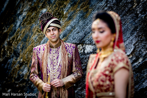 Indian groom admiring his lovely maharani. in Southhampton, Bermuda Indian Wedding by Mari Harsan Studios