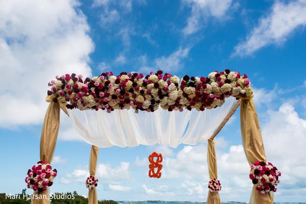 Fabulous indian wedding ceremony mandap. in Southhampton, Bermuda Indian Wedding by Mari Harsan Studios