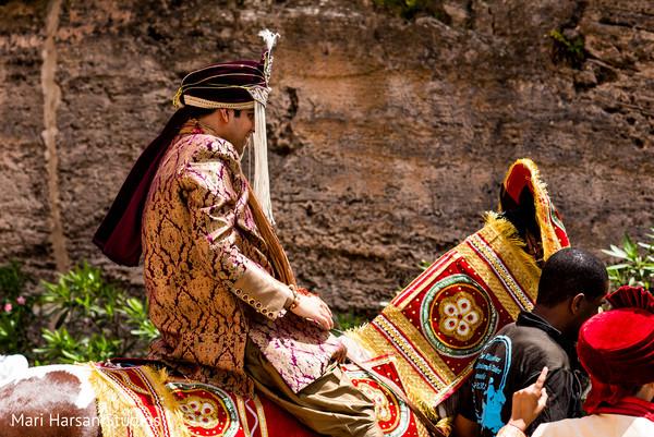 Indian wedding groom riding the baraat horse. in Southhampton, Bermuda Indian Wedding by Mari Harsan Studios