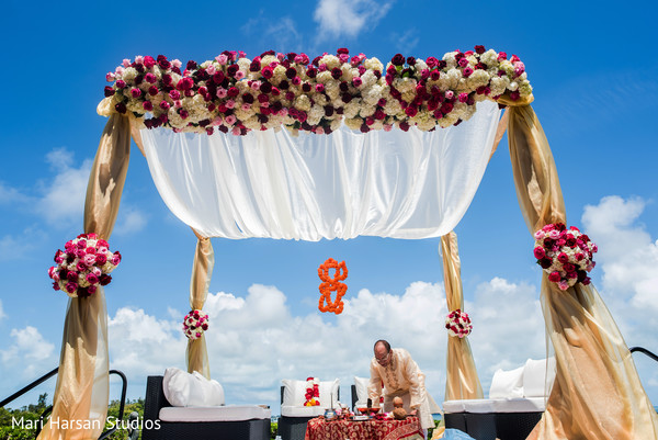 Lovely outdoor wedding mandap. in Southhampton, Bermuda Indian Wedding by Mari Harsan Studios