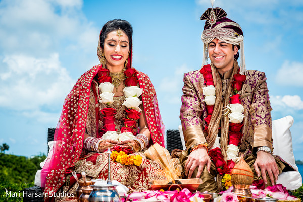 Outdoor indian wedding ceremony. in Southhampton, Bermuda Indian Wedding by Mari Harsan Studios