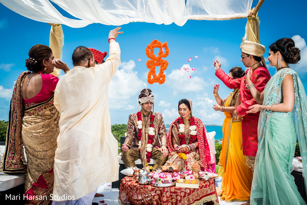 Seaside indian wedding ceremony. in Southhampton, Bermuda Indian Wedding by Mari Harsan Studios