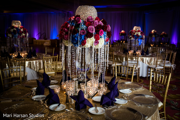 Spectacular flower and crystal centerpiece. in Southhampton, Bermuda Indian Wedding by Mari Harsan Studios