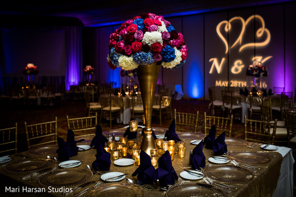 Stunning glam flower centerpiece. in Southhampton, Bermuda Indian Wedding by Mari Harsan Studios