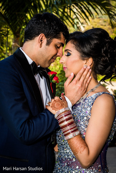 Romantic capture of indian bride and groom. in Southhampton, Bermuda Indian Wedding by Mari Harsan Studios