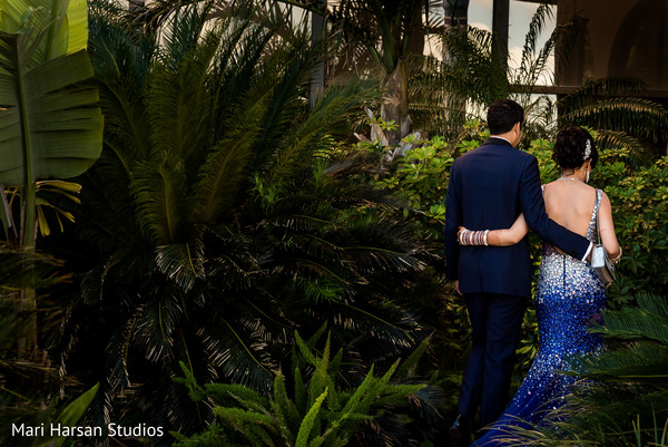 Outdoor portrait of Indian bride and groom. in Southhampton, Bermuda Indian Wedding by Mari Harsan Studios