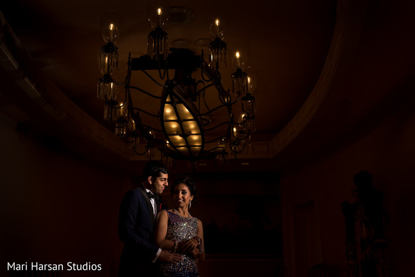 Indian wedding reception portrait. in Southhampton, Bermuda Indian Wedding by Mari Harsan Studios