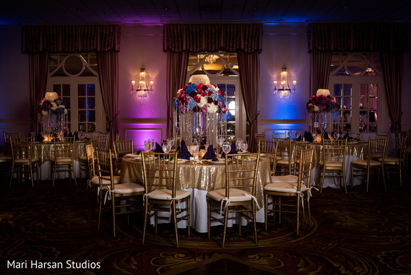 Elegant indian wedding reception decor. in Southhampton, Bermuda Indian Wedding by Mari Harsan Studios