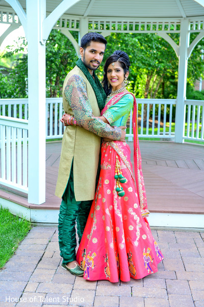 Indian bride and groom in their garba photo session. in Edison, NJ Indian Wedding by House of Talent Studio