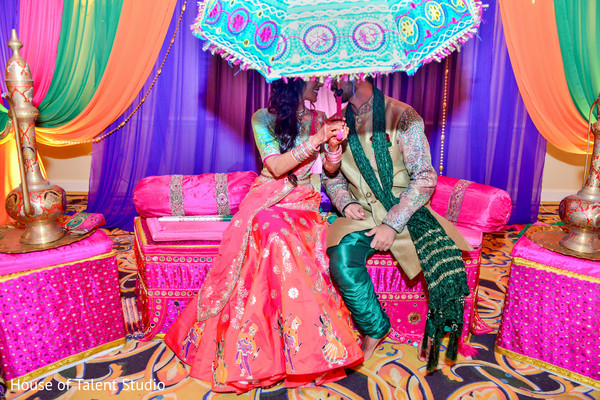 indian bride and groom,pre-wedding celebration,indian wedding gallery,garba decor