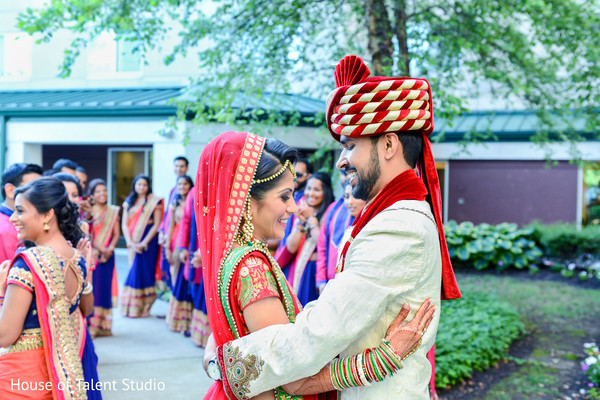 Indian bride and groom first look impression. in Edison, NJ Indian Wedding by House of Talent Studio