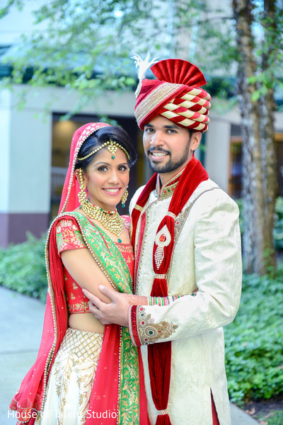 Indian bride and groom portrait. in Edison, NJ Indian Wedding by House of Talent Studio